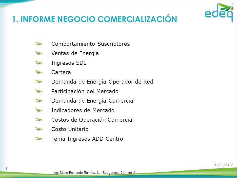 1. INFORME NEGOCIO COMERCIALIZACIÓN Ing. Mario Fernando Ramírez L. –Subgerente Comercial- 4 Comportamiento Suscriptores Ventas de Energía Ingresos SDL