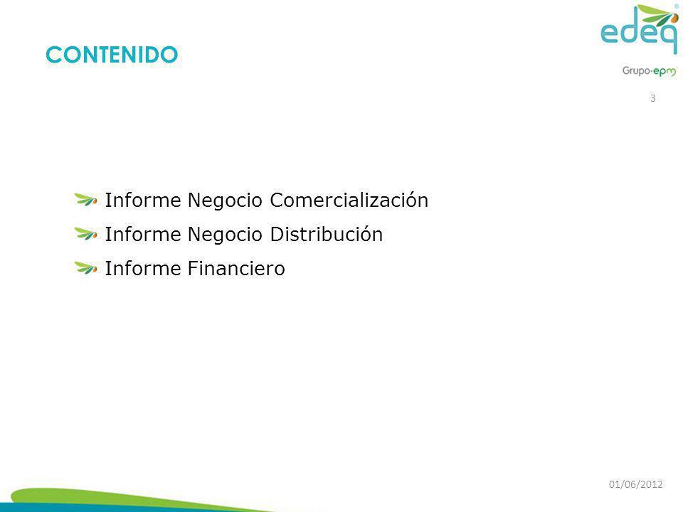 Informe Negocio Comercialización Informe Negocio Distribución Informe Financiero CONTENIDO 3 01/06/2012
