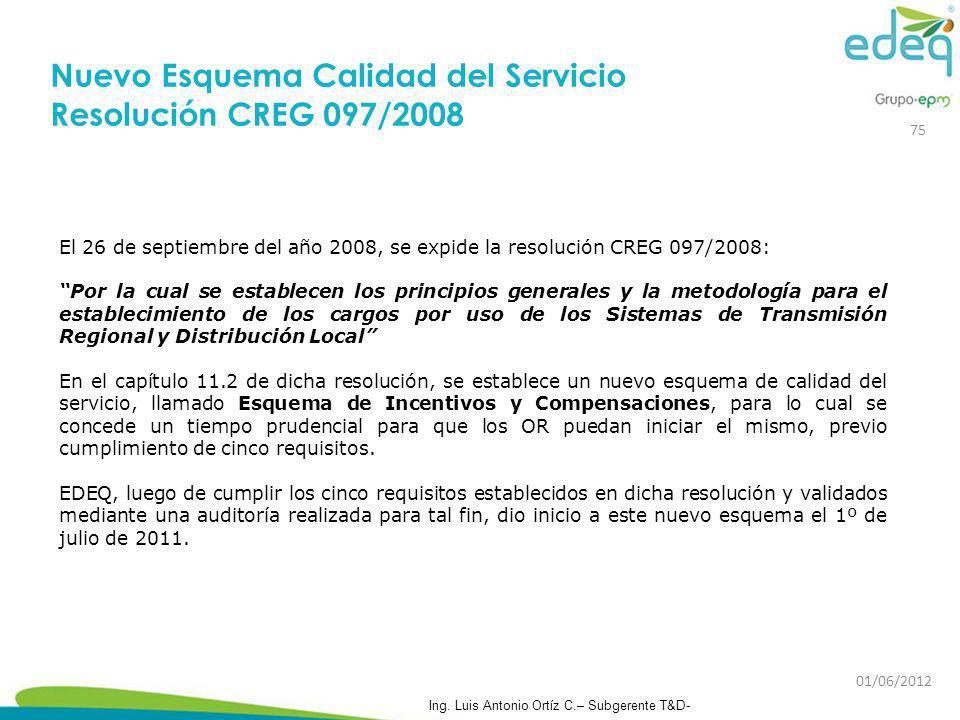 El 26 de septiembre del año 2008, se expide la resolución CREG 097/2008: Por la cual se establecen los principios generales y la metodología para el e
