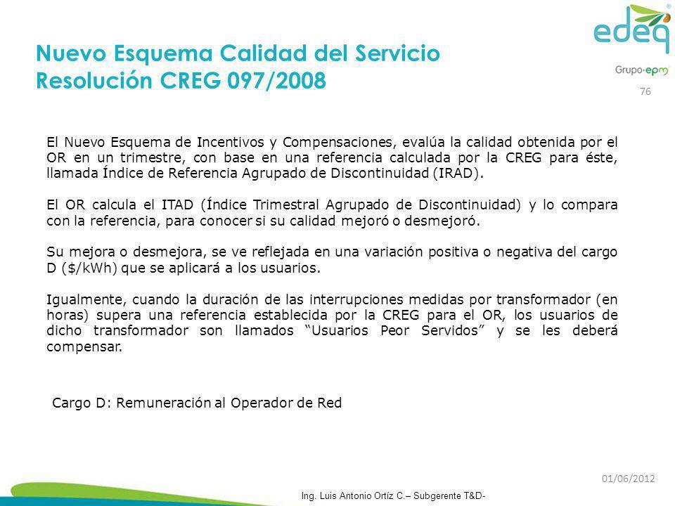 El Nuevo Esquema de Incentivos y Compensaciones, evalúa la calidad obtenida por el OR en un trimestre, con base en una referencia calculada por la CRE