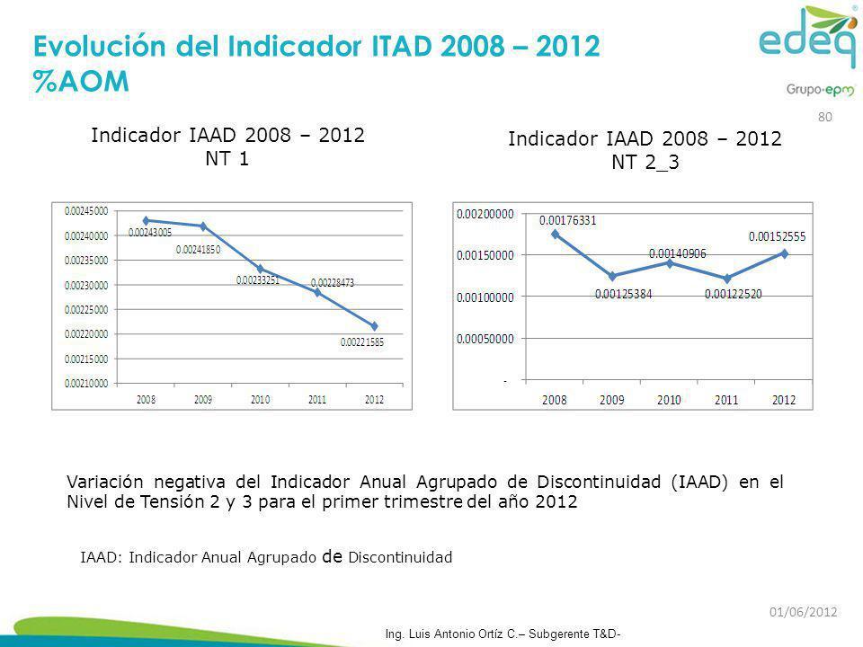 Indicador IAAD 2008 – 2012 NT 1 Indicador IAAD 2008 – 2012 NT 2_3 Variación negativa del Indicador Anual Agrupado de Discontinuidad (IAAD) en el Nivel