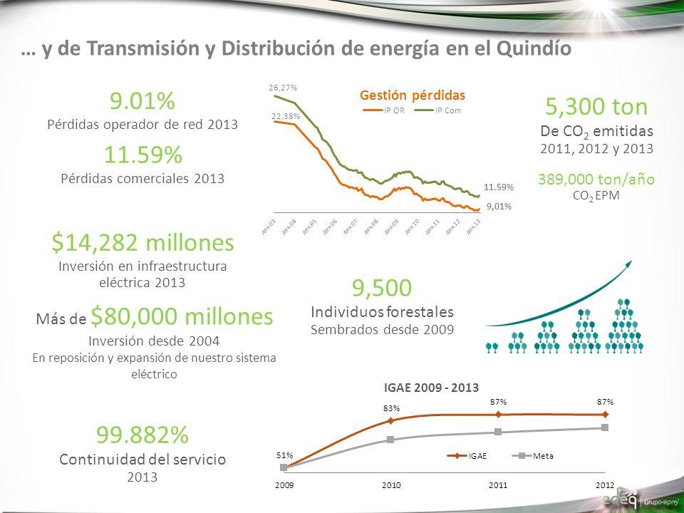 … y de Transmisión y Distribución de energía en el Quindío 9.01% Pérdidas operador de red 2013 11.59% Pérdidas comerciales 2013 99.882% Continuidad del servicio 2013 Más de $80,000 millones Inversión desde 2004 En reposición y expansión de nuestro sistema eléctrico $14,282 millones Inversión en infraestructura eléctrica 2013 Gestión pérdidas 5,300 ton De CO 2 emitidas 2011, 2012 y 2013 9,500 Individuos forestales Sembrados desde 2009 389,000 ton/año CO 2 EPM