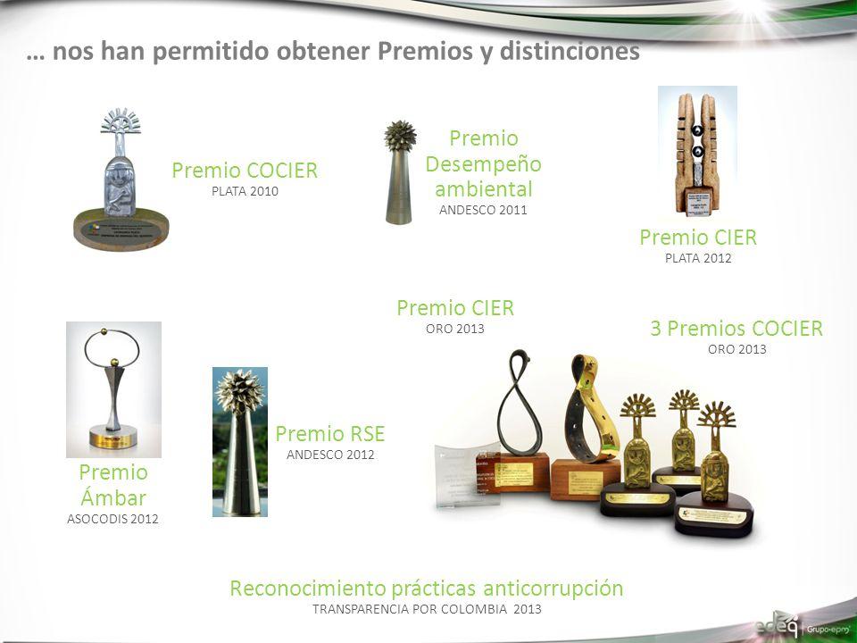 … nos han permitido obtener Premios y distinciones Premio Ámbar ASOCODIS 2012 Premio RSE ANDESCO 2012 Premio CIER PLATA 2012 Premio CIER ORO 2013 3 Pr