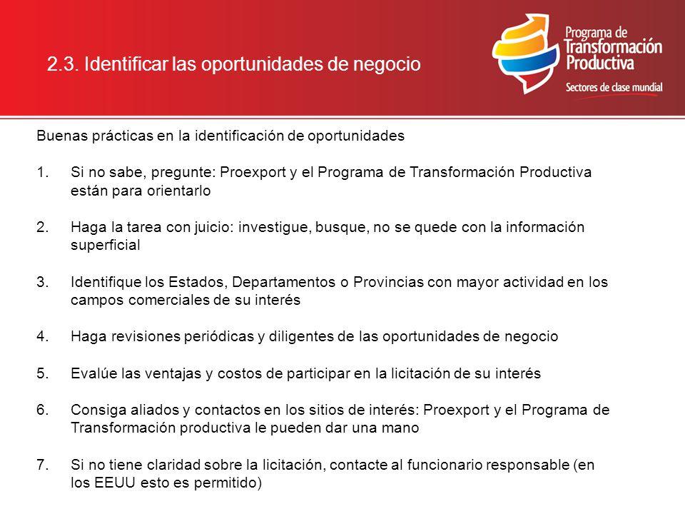 2.3. Identificar las oportunidades de negocio Buenas prácticas en la identificación de oportunidades 1.Si no sabe, pregunte: Proexport y el Programa d