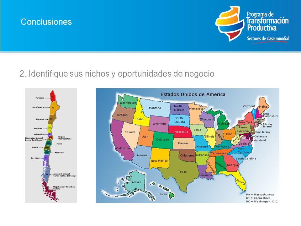 Conclusiones 2. Identifique sus nichos y oportunidades de negocio