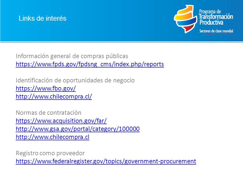 Información general de compras públicas https://www.fpds.gov/fpdsng_cms/index.php/reports Identificación de oportunidades de negocio https://www.fbo.gov/ http://www.chilecompra.cl/ Normas de contratación https://www.acquisition.gov/far/ http://www.gsa.gov/portal/category/100000 http://www.chilecompra.cl Registro como proveedor https://www.federalregister.gov/topics/government-procurement
