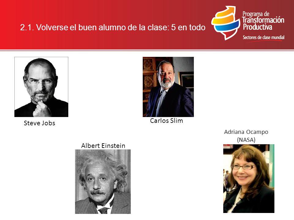2.1. Volverse el buen alumno de la clase: 5 en todo Adriana Ocampo (NASA) Steve Jobs Albert Einstein Carlos Slim