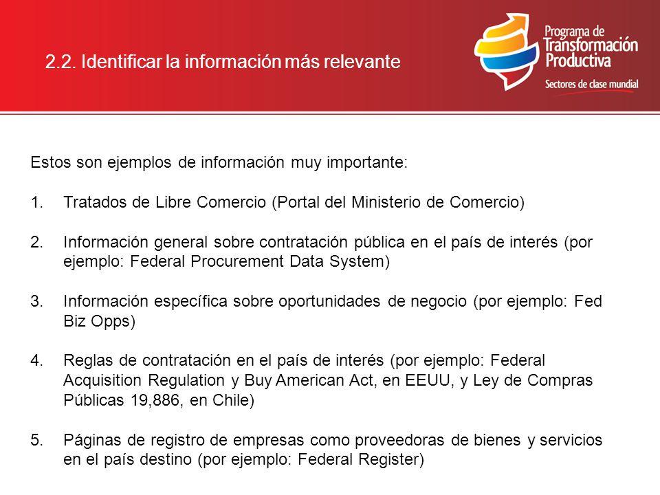 2.2. Identificar la información más relevante Estos son ejemplos de información muy importante: 1.Tratados de Libre Comercio (Portal del Ministerio de