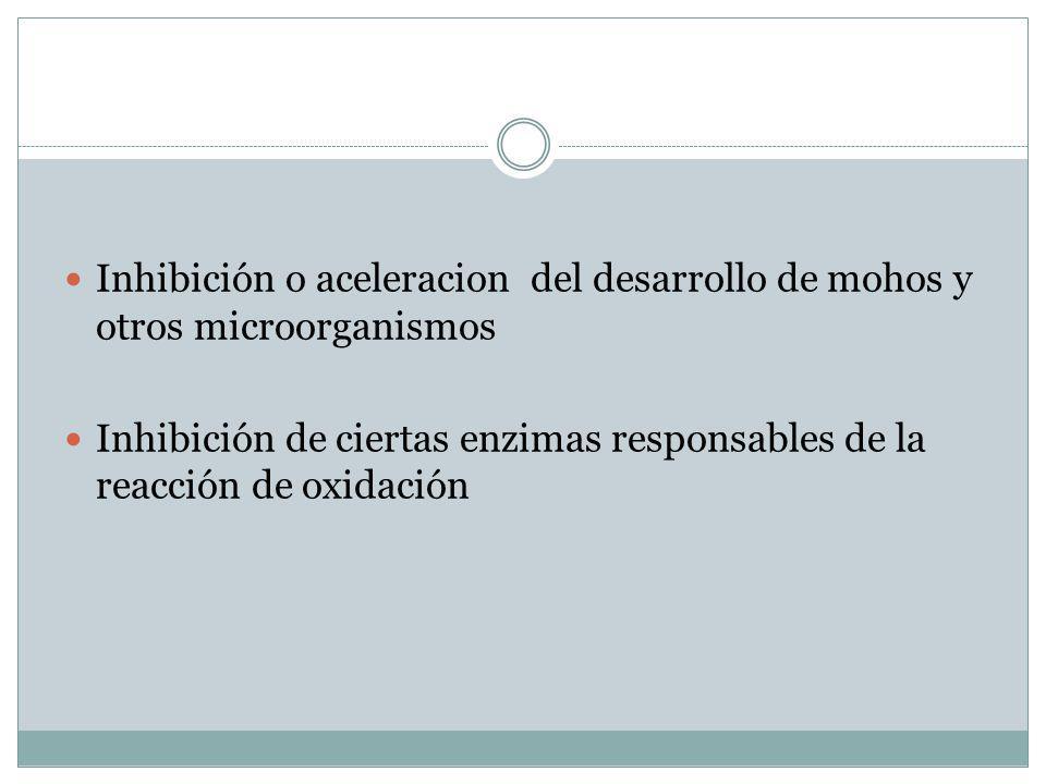 Inhibición o aceleracion del desarrollo de mohos y otros microorganismos Inhibición de ciertas enzimas responsables de la reacción de oxidación