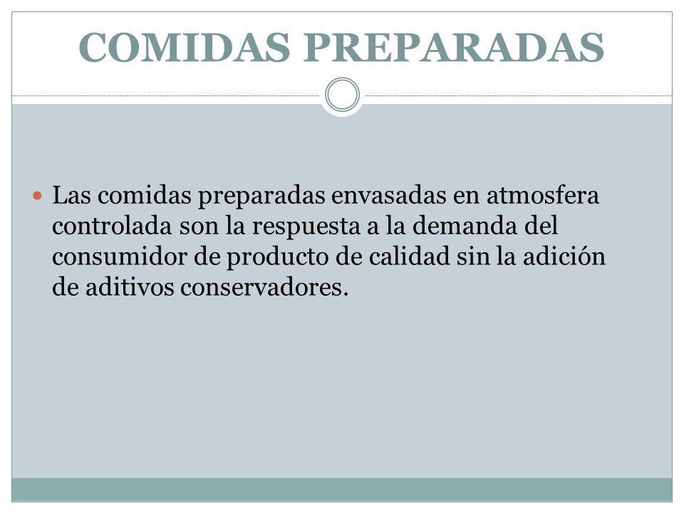 COMIDAS PREPARADAS Las comidas preparadas envasadas en atmosfera controlada son la respuesta a la demanda del consumidor de producto de calidad sin la adición de aditivos conservadores.