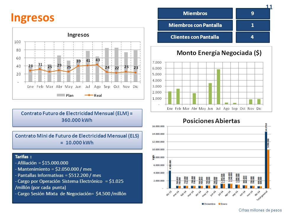 11 Ingresos Contrato Futuro de Electricidad Mensual (ELM) = 360.000 kWh Contrato Mini de Futuro de Electricidad Mensual (ELS) = 10.000 kWh Miembros 9 Miembros con Pantalla 1 Clientes con Pantalla 4 Tarifas : - Afiliación = $15.000.000 - Mantenimiento = $2.050.000 / mes - Pantallas Informativas = $512.200 / mes - Cargo por Operación Sistema Electrónico = $1.025 /millón (por cada punta) - Cargo Sesión Mixta de Negociación= $4.500 /millón Cifras millones de pesos Posiciones Abiertas