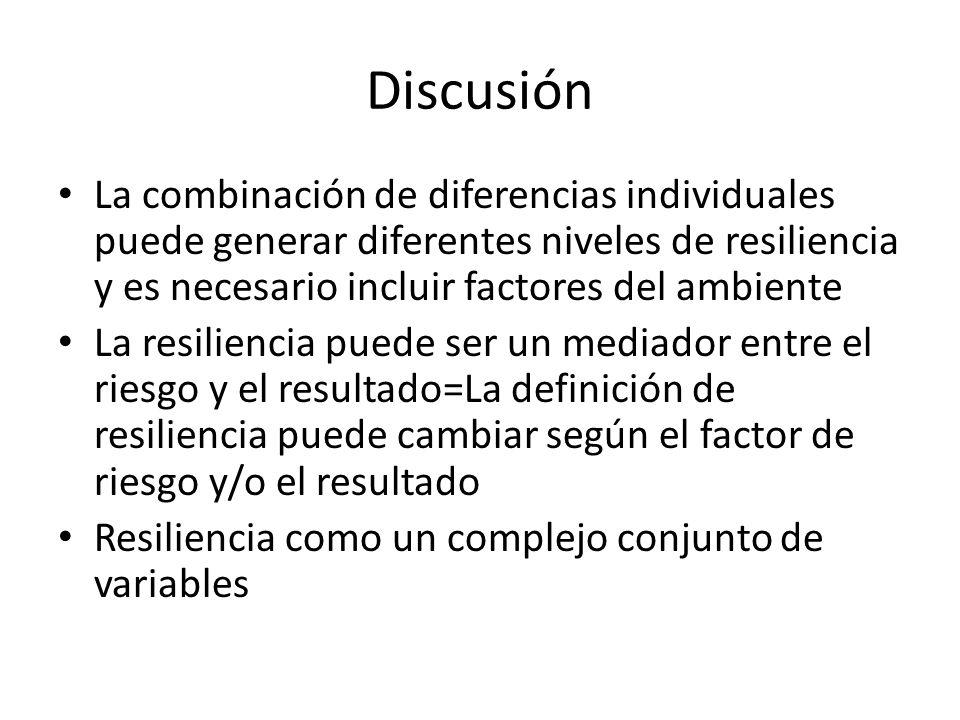 Discusión La combinación de diferencias individuales puede generar diferentes niveles de resiliencia y es necesario incluir factores del ambiente La r