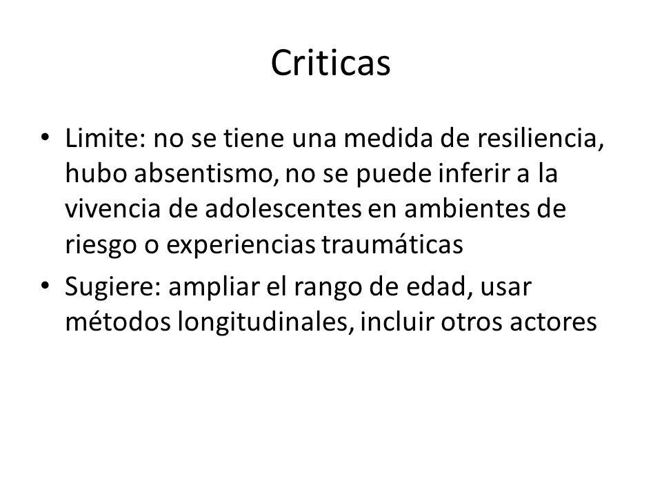 Criticas Limite: no se tiene una medida de resiliencia, hubo absentismo, no se puede inferir a la vivencia de adolescentes en ambientes de riesgo o ex