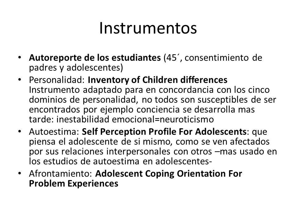 Instrumentos Autoreporte de los estudiantes (45´, consentimiento de padres y adolescentes) Personalidad: Inventory of Children differences Instrumento