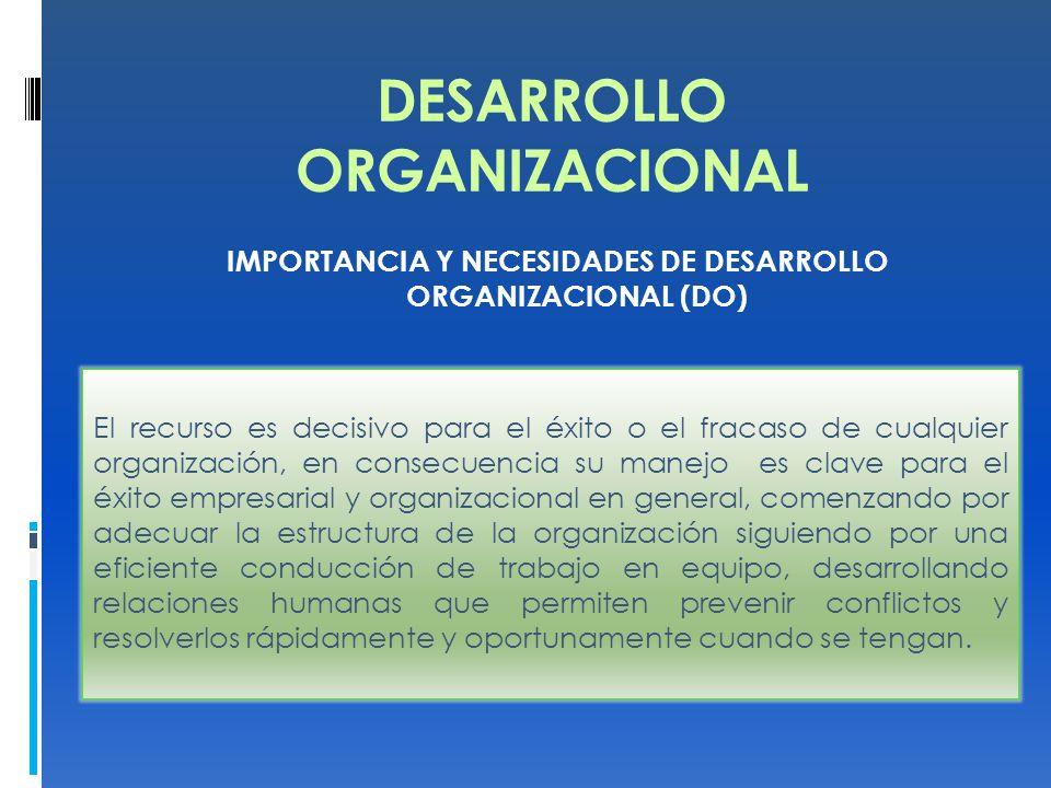 DESARROLLO ORGANIZACIONAL IMPORTANCIA Y NECESIDADES DE DESARROLLO ORGANIZACIONAL (DO) El recurso es decisivo para el éxito o el fracaso de cualquier organización, en consecuencia su manejo es clave para el éxito empresarial y organizacional en general, comenzando por adecuar la estructura de la organización siguiendo por una eficiente conducción de trabajo en equipo, desarrollando relaciones humanas que permiten prevenir conflictos y resolverlos rápidamente y oportunamente cuando se tengan.