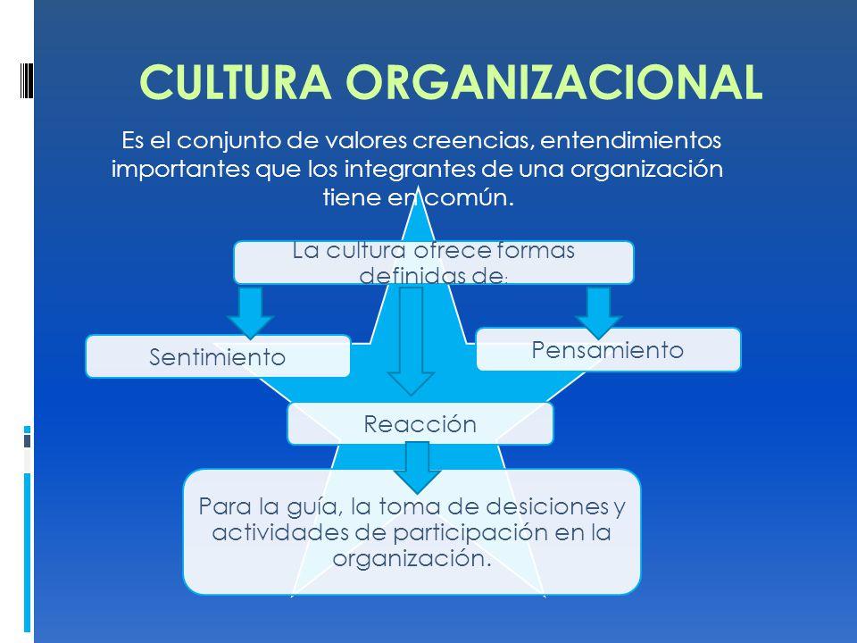 La cultura ofrece formas definidas de : PensamientoSentimientoReacción Para la guía, la toma de desiciones y actividades de participación en la organización.