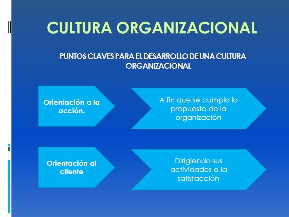 CULTURA ORGANIZACIONAL PUNTOS CLAVES PARA EL DESARROLLO DE UNA CULTURA ORGANIZACIONAL Orientación a la acción. A fin que se cumpla lo propuesto de la