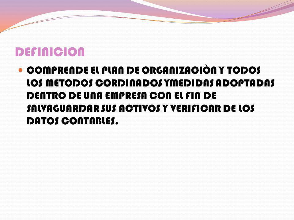 DEFINICION COMPRENDE EL PLAN DE ORGANIZACIÒN Y TODOS LOS METODOS CORDINADOS YMEDIDAS ADOPTADAS DENTRO DE UNA EMPRESA CON EL FIN DE SALVAGUARDAR SUS AC