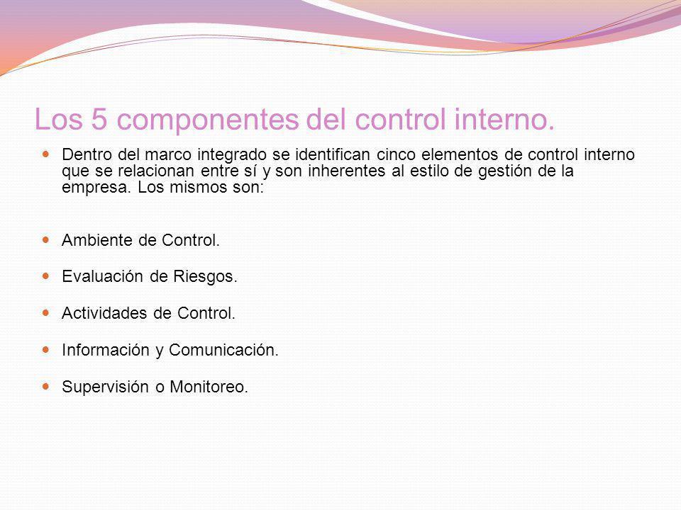 Los 5 componentes del control interno. Dentro del marco integrado se identifican cinco elementos de control interno que se relacionan entre sí y son i