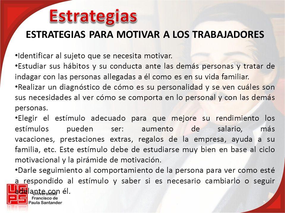 ESTRATEGIAS PARA MOTIVAR A LOS TRABAJADORES Identificar al sujeto que se necesita motivar.