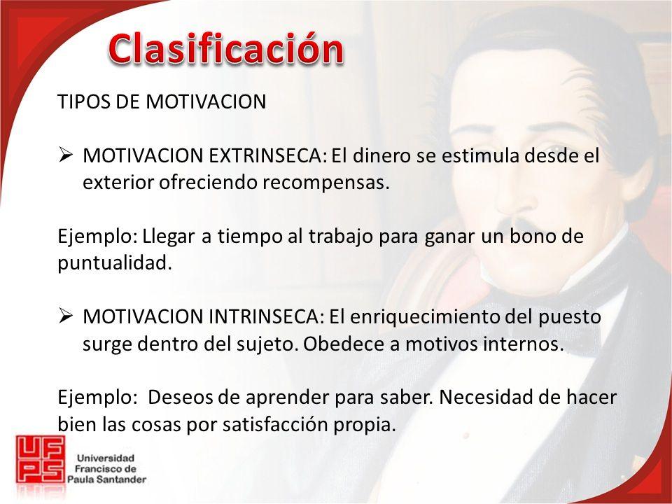 TIPOS DE MOTIVACION MOTIVACION EXTRINSECA: El dinero se estimula desde el exterior ofreciendo recompensas.