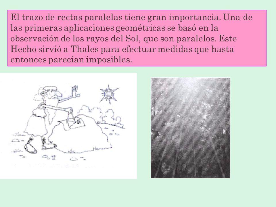 El trazo de rectas paralelas tiene gran importancia.