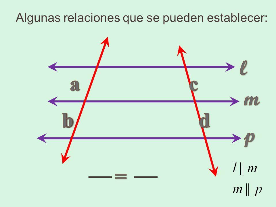 Algunas relaciones que se pueden establecer: