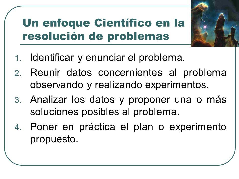 Un enfoque Científico en la resolución de problemas 1. Identificar y enunciar el problema. 2. Reunir datos concernientes al problema observando y real