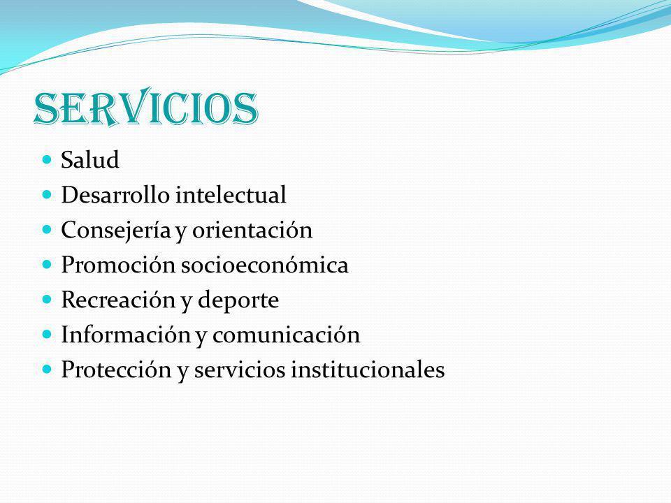 SERVICIOS Salud Desarrollo intelectual Consejería y orientación Promoción socioeconómica Recreación y deporte Información y comunicación Protección y servicios institucionales