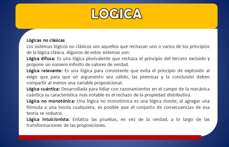 Lógicas no clásicas Los sistemas lógicos no clásicos son aquellos que rechazan uno o varios de los principios de la lógica clásica. Algunos de estos s