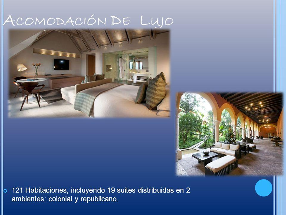 A COMODACIÓN D E L UJO 121 Habitaciones, incluyendo 19 suites distribuidas en 2 ambientes: colonial y republicano.