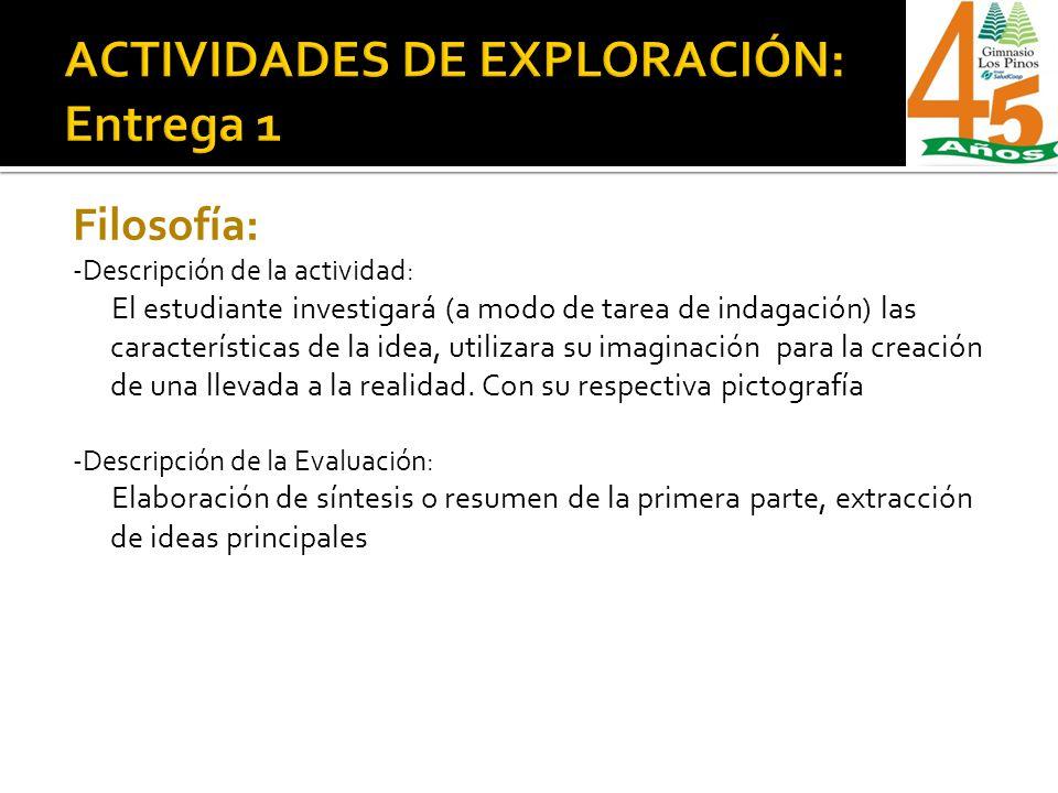 Filosofía: -Descripción de la actividad: El estudiante investigará (a modo de tarea de indagación) las características de la idea, utilizara su imagin