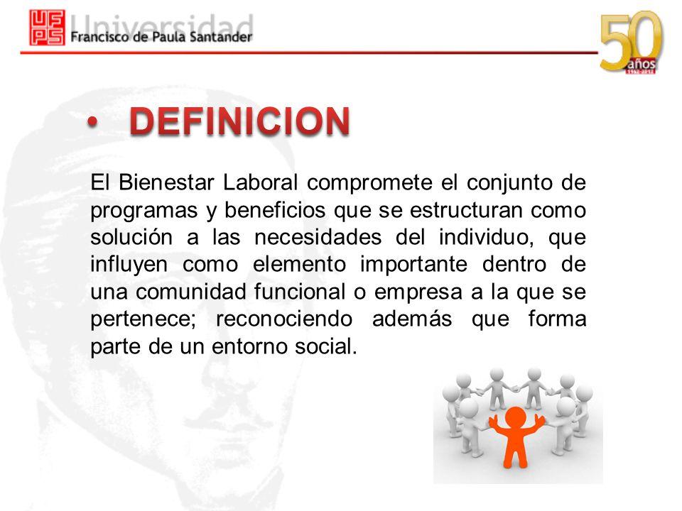 El Bienestar Laboral compromete el conjunto de programas y beneficios que se estructuran como solución a las necesidades del individuo, que influyen c