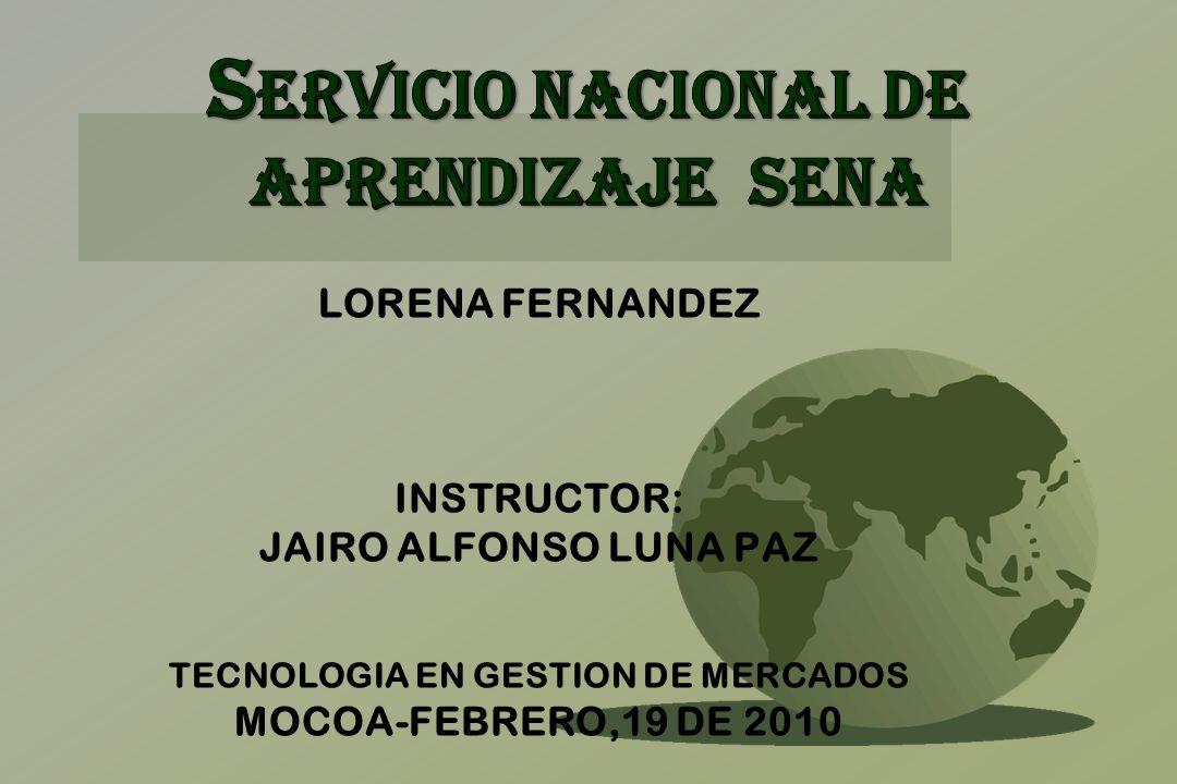 LORENA FERNANDEZ INSTRUCTOR: JAIRO ALFONSO LUNA PAZ TECNOLOGIA EN GESTION DE MERCADOS MOCOA-FEBRERO,19 DE 2010