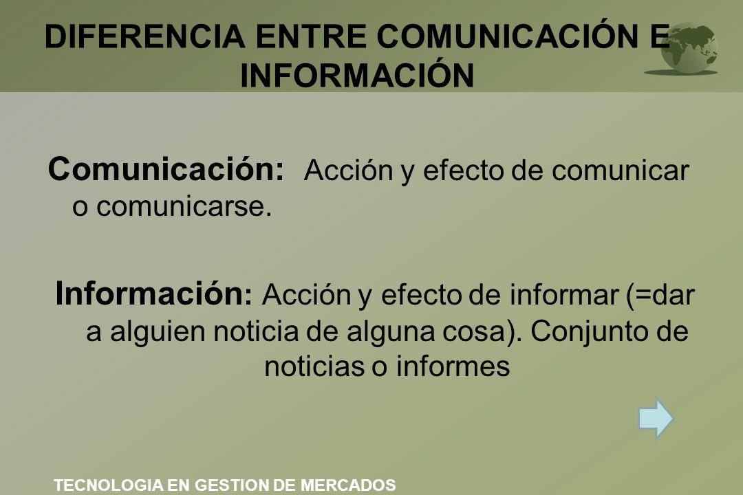 DIFERENCIA ENTRE COMUNICACIÓN E INFORMACIÓN Comunicación: Acción y efecto de comunicar o comunicarse.