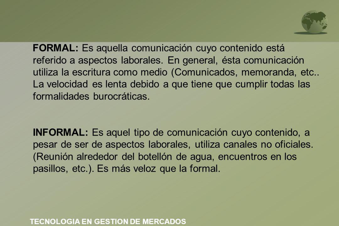 FORMAL: Es aquella comunicación cuyo contenido está referido a aspectos laborales. En general, ésta comunicación utiliza la escritura como medio (Comu