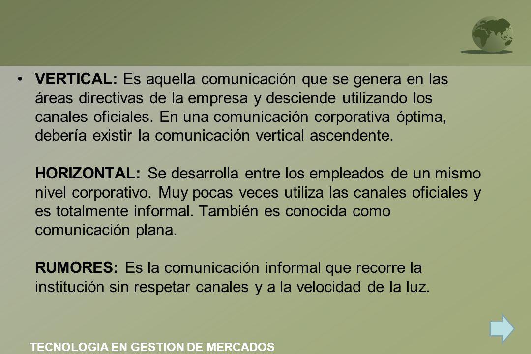 VERTICAL: Es aquella comunicación que se genera en las áreas directivas de la empresa y desciende utilizando los canales oficiales. En una comunicació