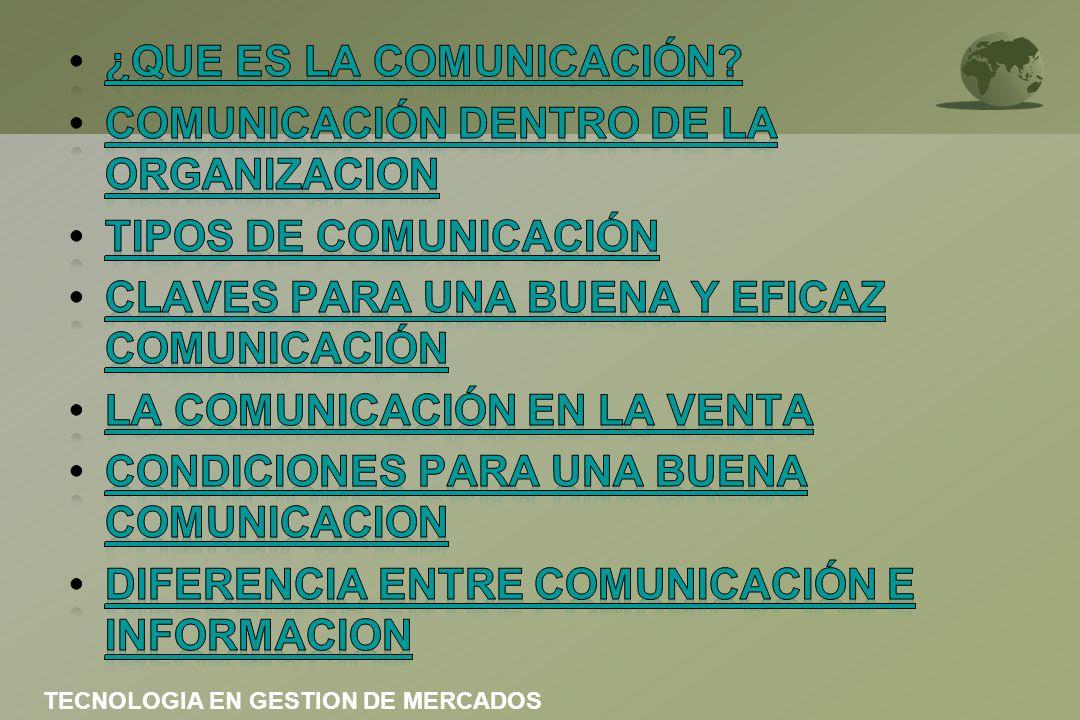 Comunicación entre dos personas DIALOGO Comunicación en grupos pequeños DISCUSION Comunicación en grupos numerosos CONFERENCIA TECNOLOGIA EN GESTION DE MERCADOS