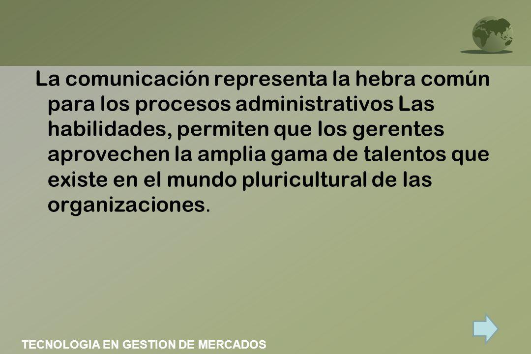 La comunicación representa la hebra común para los procesos administrativos Las habilidades, permiten que los gerentes aprovechen la amplia gama de ta
