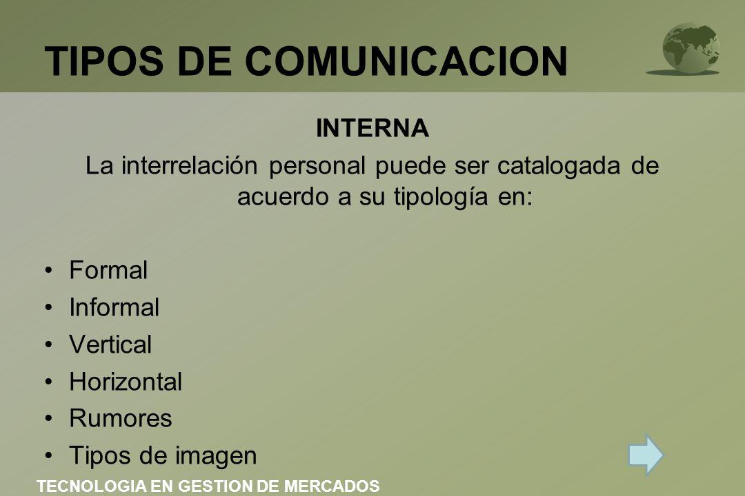 TIPOS DE COMUNICACION INTERNA La interrelación personal puede ser catalogada de acuerdo a su tipología en: Formal Informal Vertical Horizontal Rumores Tipos de imagen TECNOLOGIA EN GESTION DE MERCADOS