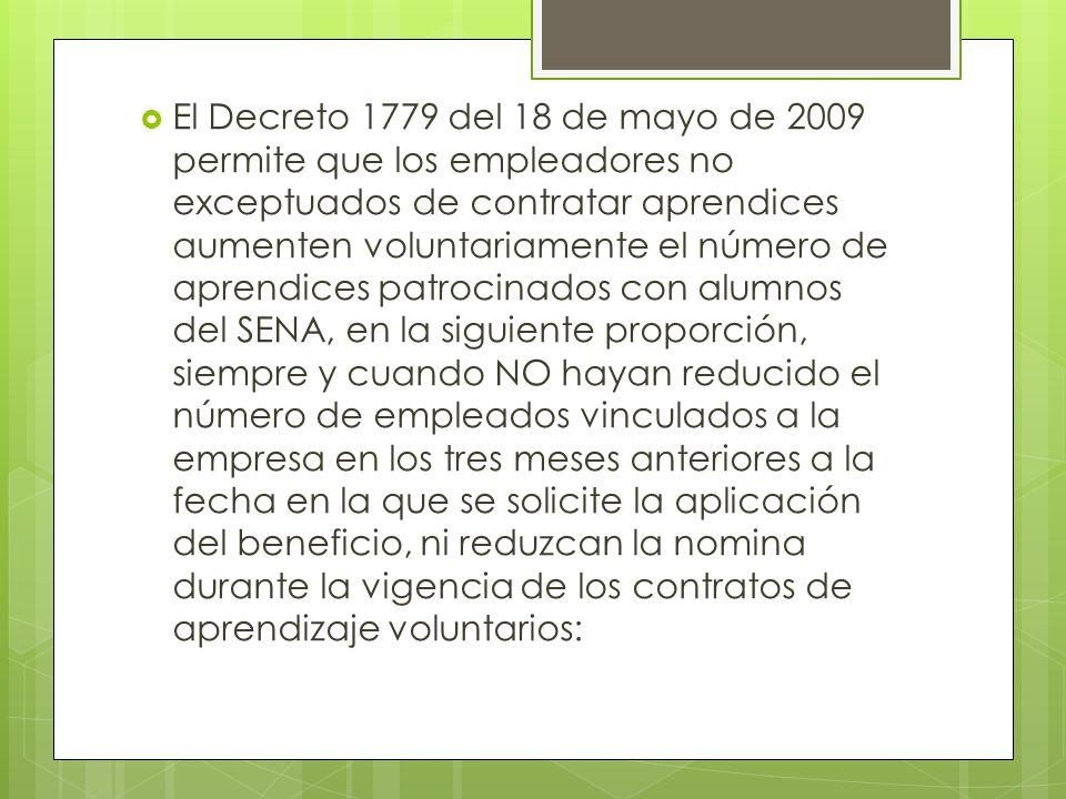 El Decreto 1779 del 18 de mayo de 2009 permite que los empleadores no exceptuados de contratar aprendices aumenten voluntariamente el número de aprend