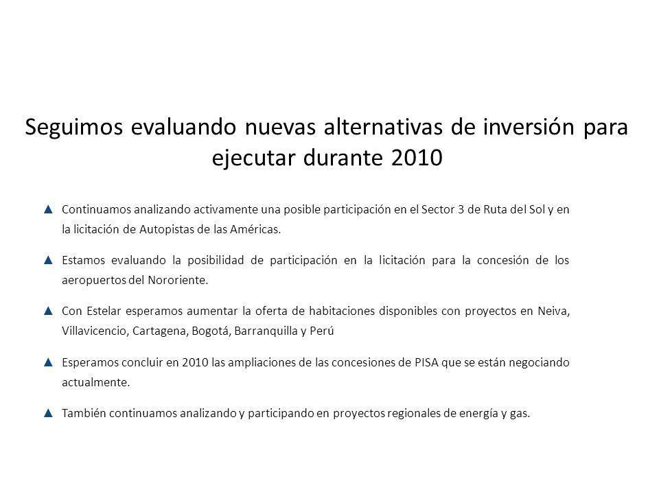 Seguimos evaluando nuevas alternativas de inversión para ejecutar durante 2010 Continuamos analizando activamente una posible participación en el Sector 3 de Ruta del Sol y en la licitación de Autopistas de las Américas.