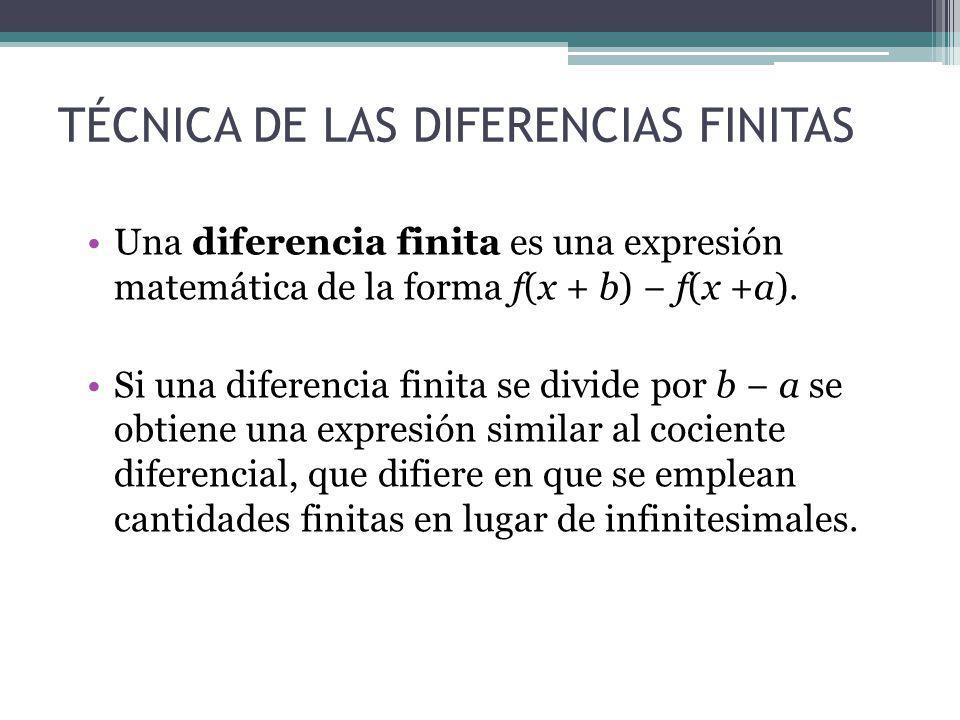 TÉCNICA DE LAS DIFERENCIAS FINITAS Una diferencia finita es una expresión matemática de la forma f(x + b) f(x +a). Si una diferencia finita se divide