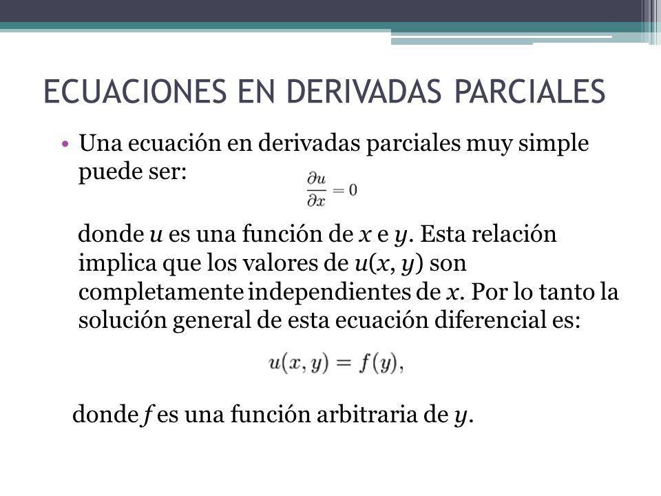 ECUACIONES EN DERIVADAS PARCIALES Una ecuación en derivadas parciales muy simple puede ser: donde u es una función de x e y. Esta relación implica que