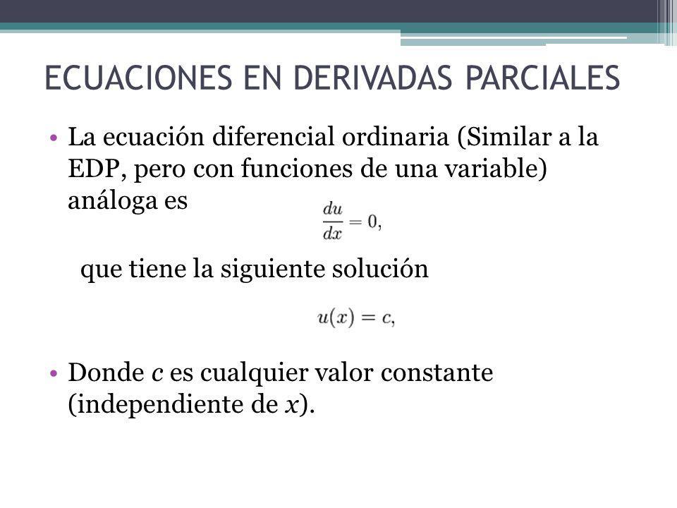 ECUACIONES EN DERIVADAS PARCIALES Estos dos ejemplos ilustran que las soluciones generales de las ecuaciones diferenciales ordinarias se mantienen con constantes, pero las soluciones de las ecuaciones diferenciales en derivadas parciales generan funciones arbitrarias.