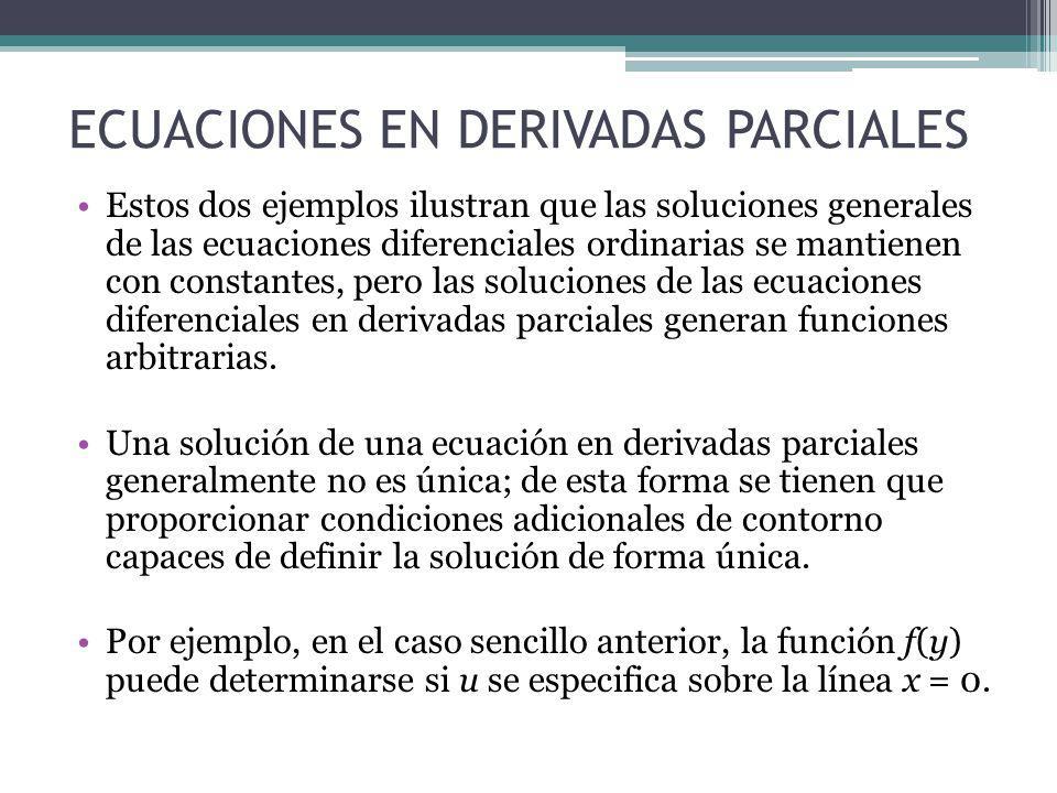 ECUACIONES EN DERIVADAS PARCIALES Estos dos ejemplos ilustran que las soluciones generales de las ecuaciones diferenciales ordinarias se mantienen con