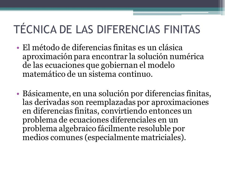 TÉCNICA DE LAS DIFERENCIAS FINITAS El método de diferencias finitas es un clásica aproximación para encontrar la solución numérica de las ecuaciones q