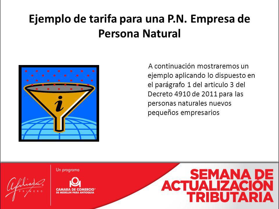 A continuación mostraremos un ejemplo aplicando lo dispuesto en el parágrafo 1 del articulo 3 del Decreto 4910 de 2011 para las personas naturales nue