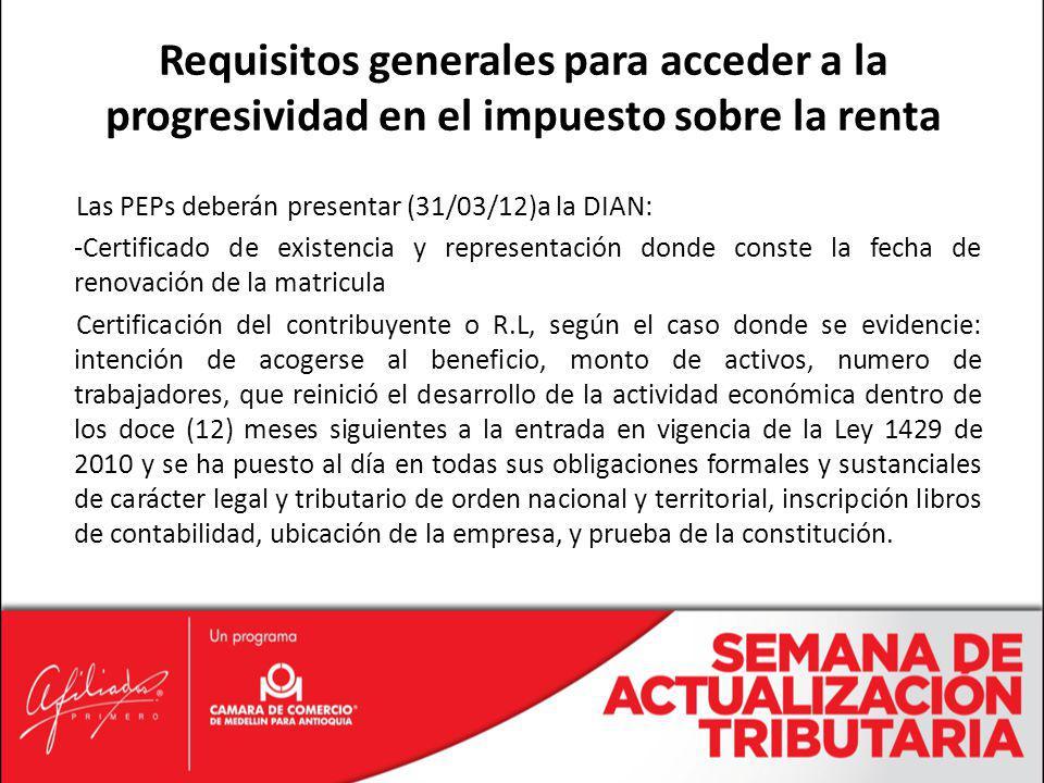 Las PEPs deberán presentar (31/03/12)a la DIAN: -Certificado de existencia y representación donde conste la fecha de renovación de la matricula Certif
