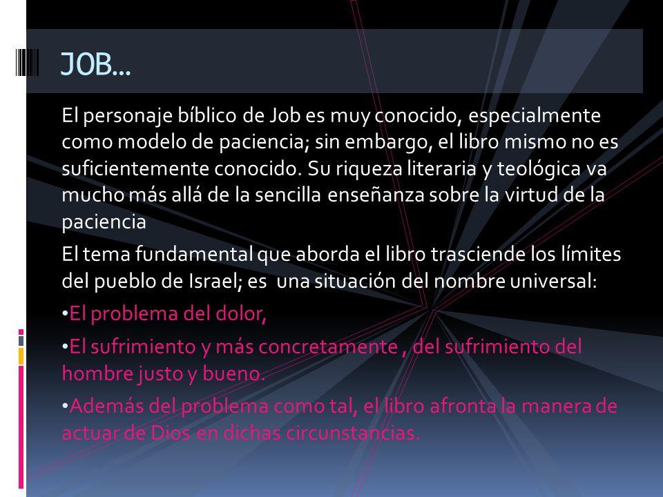 El personaje bíblico de Job es muy conocido, especialmente como modelo de paciencia; sin embargo, el libro mismo no es suficientemente conocido. Su ri